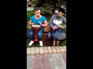 Оболонский джем, уличная музыка. Дамбука, Ханг