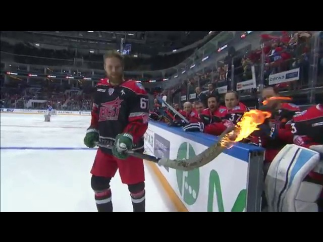 Linus Omark tries to score with a burning stick at KHL ASG'16
