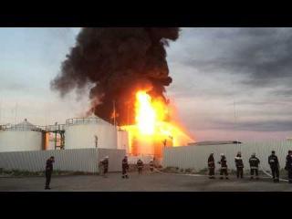 Пожар на нефтебазе БРСМ в Василькове