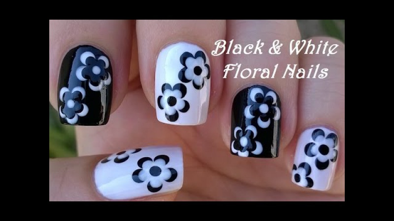 BLACK WHITE FLORAL NAIL ART / LifeWorldWomen Collab Mimzie / Monochrome Nails