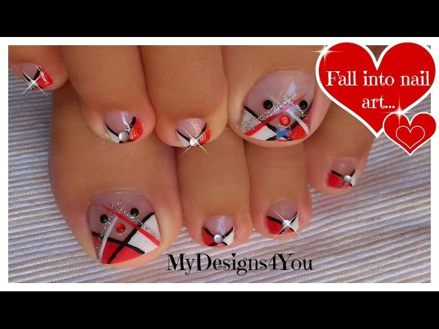Abstract Toenail Art | Red, Black and White Pedicure ♥ Diseño de Uñas de Pies