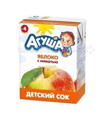 Соки и напитки Сок детский с мякотью без сахара Яблоко 200 мл, Агуша