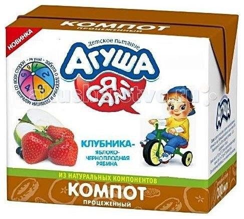 Соки и напитки Компот Клубника-яблоко-черноплодная рябина 200 мл, Агуша