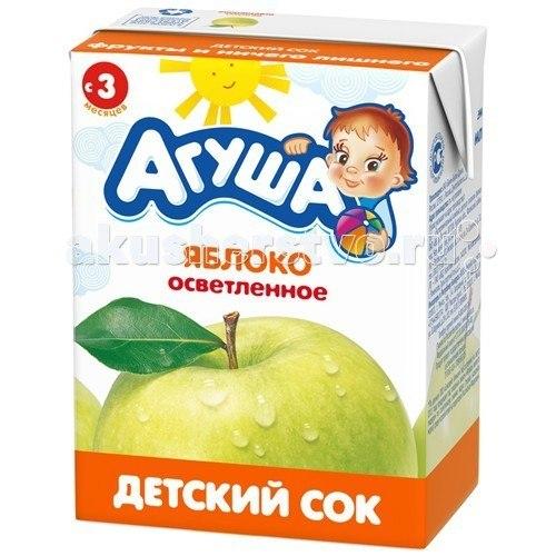 Соки и напитки Сок детский осветленный без сахара Яблоко 200 мл, Агуша