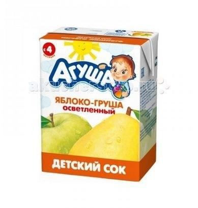 Соки и напитки Сок детский осветленный без сахара Яблоко-Груша 200 мл, Агуша