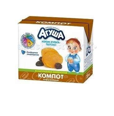 Соки и напитки Компот Курага-изюм-яблоко 200 мл, Агуша