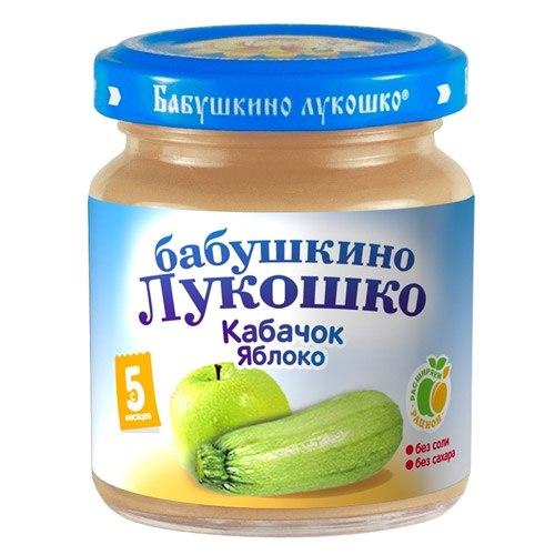 Пюре Пюре Кабачок, яблоко с 5 мес., 100 г, Бабушкино лукошко