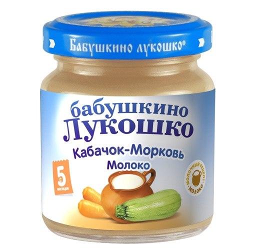 Пюре Пюре Кабачок, морковь, молоко с 5 мес., 100 г, Бабушкино лукошко