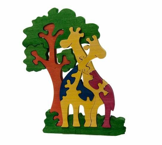 Пазлы Деревянный пазл Жирафы и дерево, Tree Tone