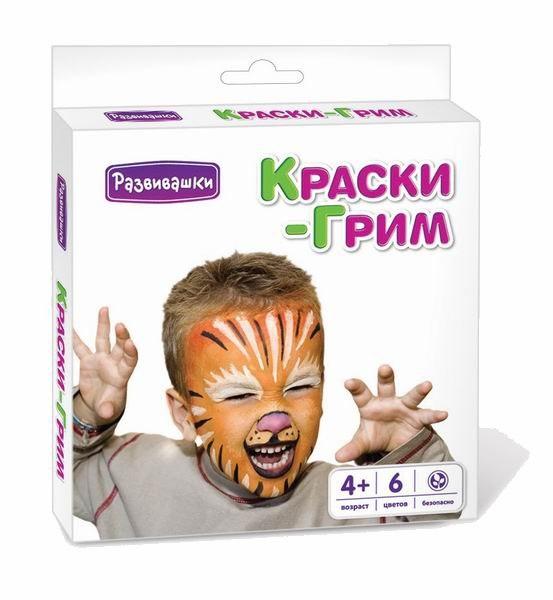 Краски Краска-карандаш для тела, лица 6 цветов, Развивашки