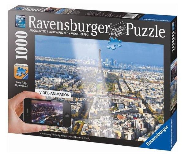Пазлы Пазл Крыши Парижа с видео-анимацией 1000 элементов, Ravensburger