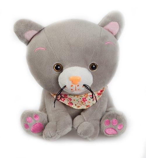 Мягкие игрушки Котенок Мяу с платком 21 см музыкальный, Fluffy Family