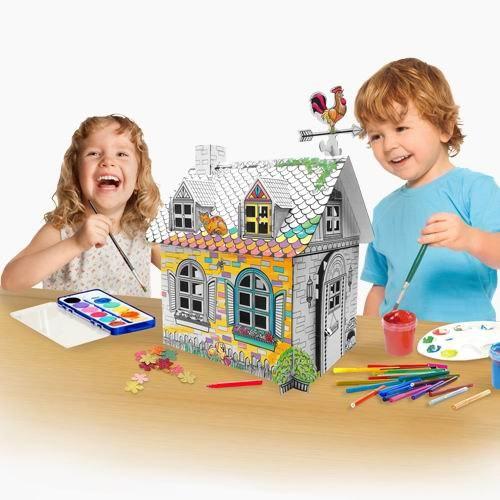 Наборы для творчества Картонный домик-раскраска Сельский домик мини, CartonHouse