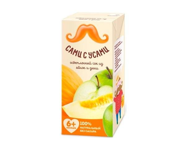 Соки и напитки Сок яблочно-дынный осветленный с 5 мес. 180 мл, Сами с усами