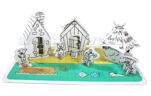 Наборы для творчества Картонный домик-раскраска Три Поросенка, CartonHouse