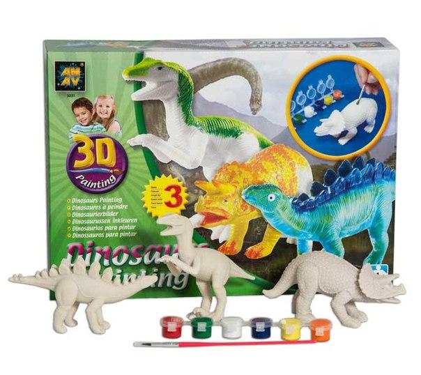 Раскраски Набор Коллекция динозавров 3D, AMAV (Diamant)