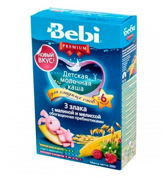 Каши Молочная каша Premium Для сладких снов 3 злака с малиной и мелис, Bebi