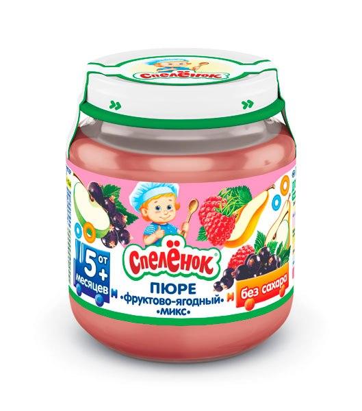 Пюре Пюре Фруктово-ягодный микс с 5 мес. 125 г, Спеленок