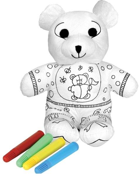 Раскраски Нарядный мишка с набором фломастеров, Мир детства