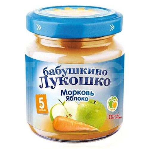 Пюре Пюре Морковь и яблоки с 5 мес., 100 г, Бабушкино лукошко