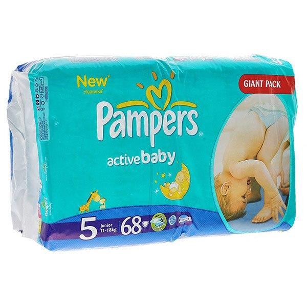 Подгузники Подгузники Active Baby Junior (11-18кг) 68 шт., Pampers