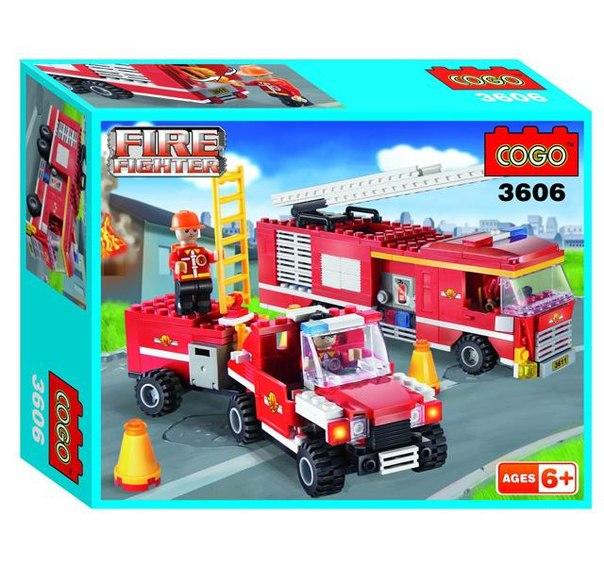 Конструкторы Пожарный. Пожарные автомобили 319 деталей, Cogo