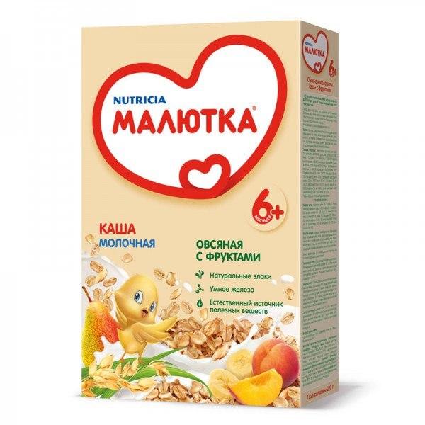 Каши Молочная каша овсяная с фруктами с 6 мес. 220 г, Малютка