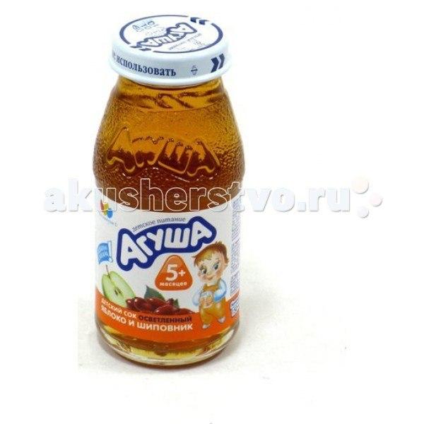 Соки и напитки Сок осветлённый без сахара Яблоко и шиповник 150 мл, Агуша