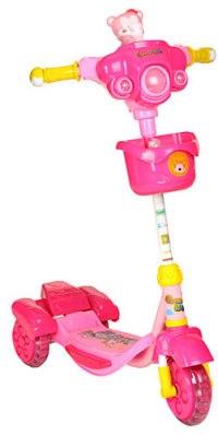 """Самокат трехколесный """""""" (розовый, игрушка мишка), Leader Kids"""
