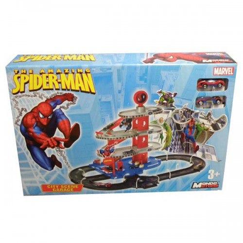 Машины Гараж Человек-Паук 4 уровня, 2 машинки Автогородок, Mondo Motors