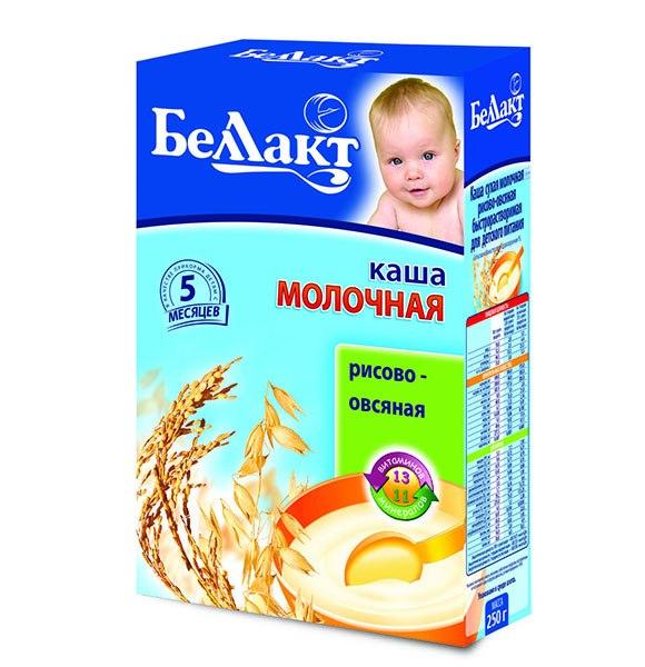 Каши Рисово-овсяная каша молочная с 5 мес., 250 г, Беллакт