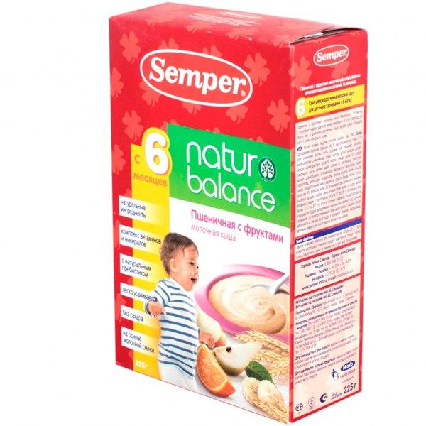 Каши Пшеничная с фруктами молочная каша naturbalance с 6 мес. 225 г, Semper
