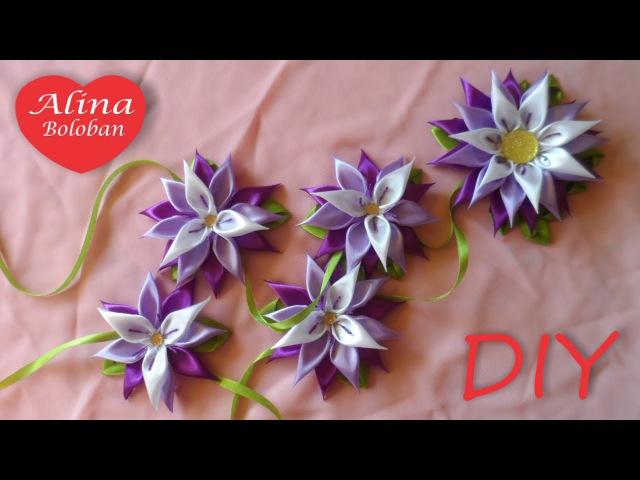 Хризантема Канзаши Лента в Косу Kanzashi flowers from satin ribbon