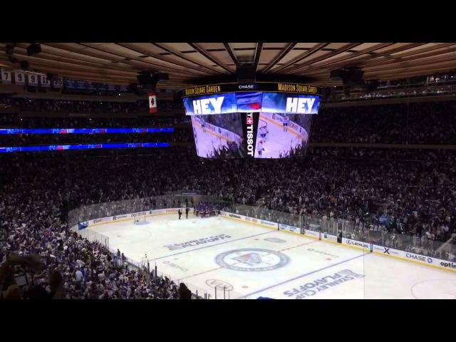 The New York Rangers scoring the final goal in OT in game 4
