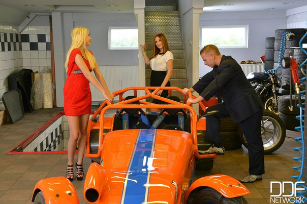 Kimber Delice, Eva Berger - Threesome In The Service Garage With