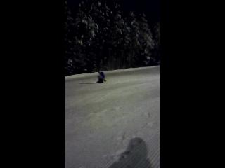 Дениска впервые на сноуборде