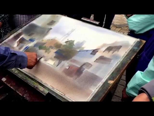 Watercolor demonstration by Yang Zhi Wei watercolor artist
