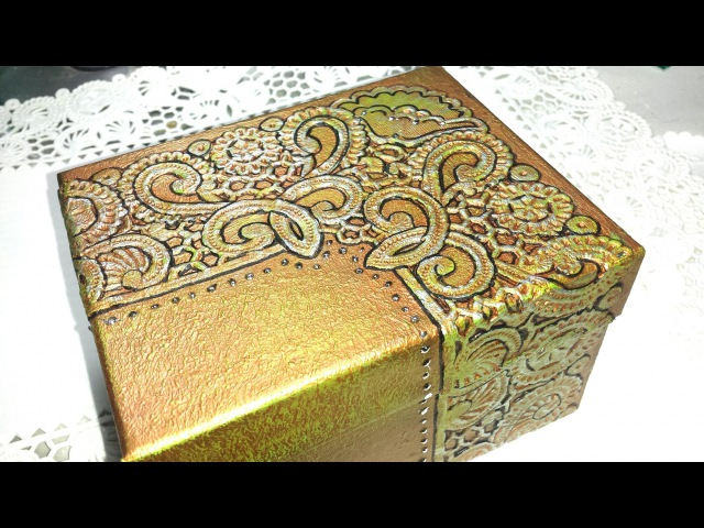 DIY CAJA REPUJADA CON OBLEAS BOX EMBOSSED WITH WAFERS