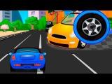 Мультик. Машинки на гоночной трассе и в автосервисе. Мультик про машинки.