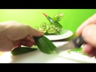 Art in cucumber show - fruit carving tutorial - искусство огурцов шоу-резьбы