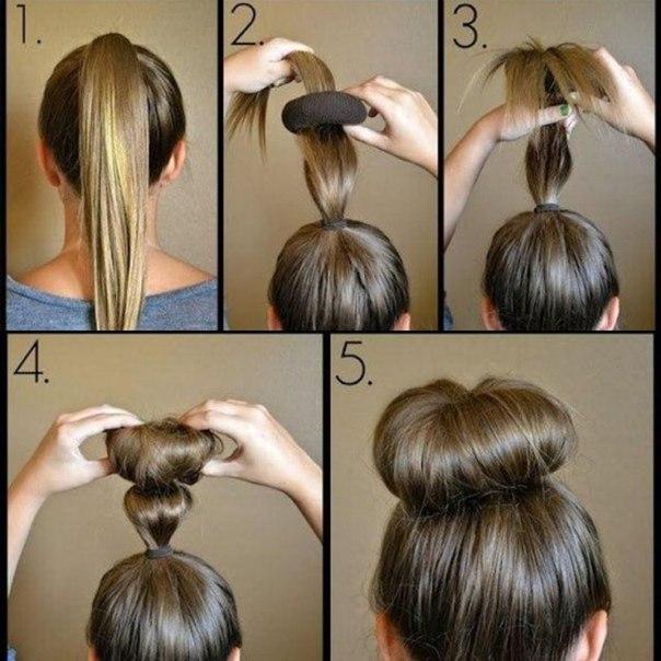Как сделать пучок для волос из бублика