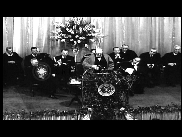 Winston Churchill's Iron Curtain speech regarding USSR and Eastern Bloc, at Wes...HD Stock Footage