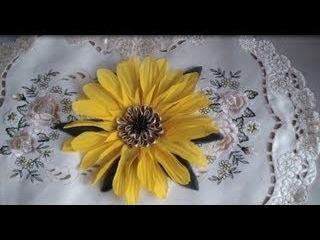 Как сделать подсолнух. Часть 2. Цветы из ткани