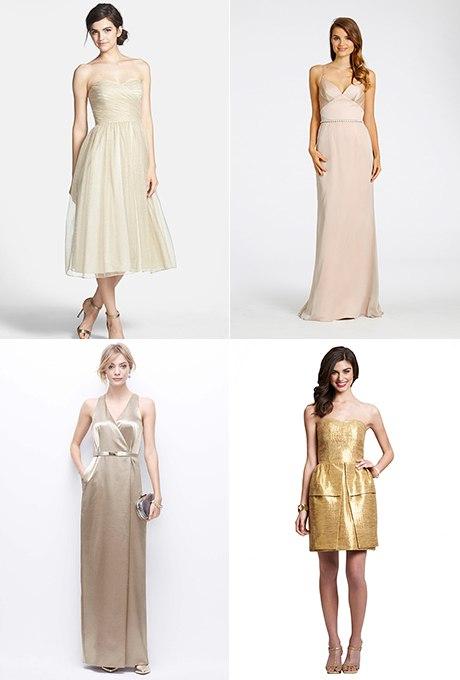 0c3 6UC aN8 - Золотое свадебные платья для подружек невесты: металлический блеск гламура (30 фото)