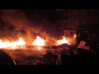 25 января 2014. Киев, Грушевского. Лед и пламень. Майдан, Грушевского