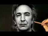 Alan Rickman Portrait Drawing Art Tribute - White pastel on fabric