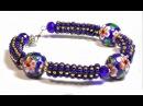Стильный браслет из бисера и бусин 🌺 Барвинок - Мастер класс /DIY Beaded bracelet Periwinkle