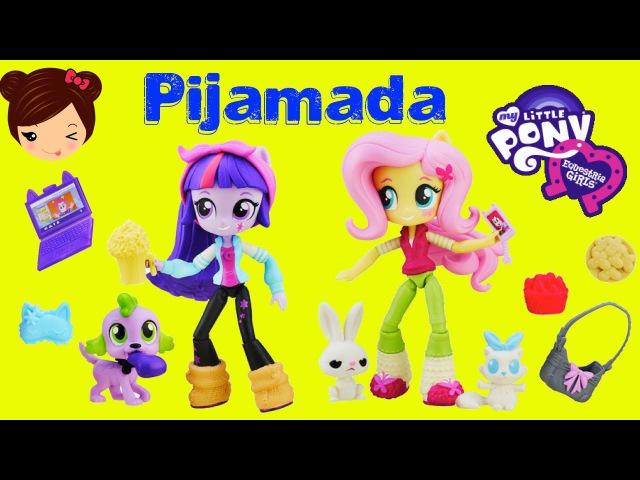 My Little Pony Mini Equestria Girl Muñecas - Twilight Sparkle Fluttershy Juego Fiesta Pijamada