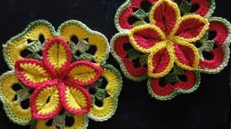 Объёмный цветок из квадратов Volumetric flower of squares Crocheting » Freewka.com - Смотреть онлайн в хорощем качестве