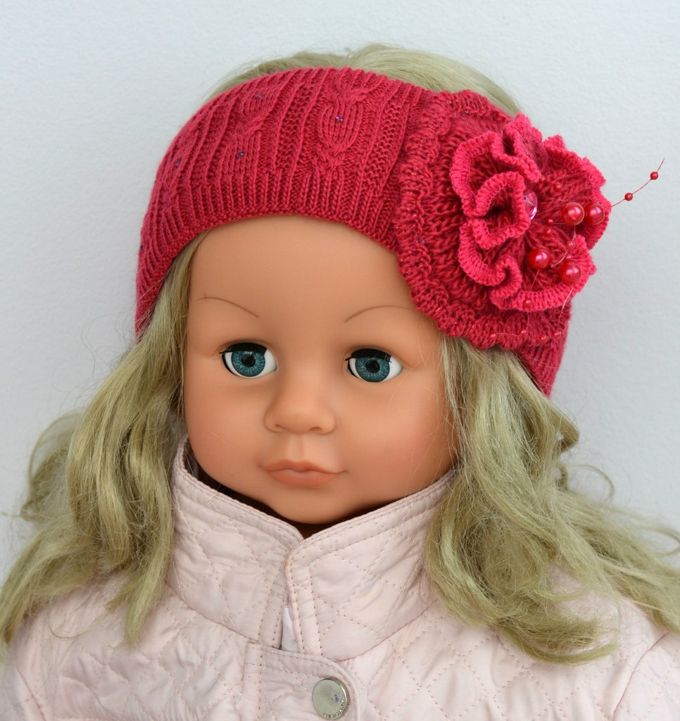 Вязаная повязка на голову для девочки (36 фото детские) 79